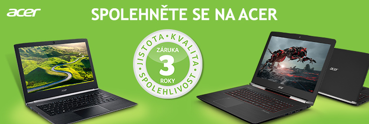 Vybrané produkty Acer nyní můžete mít až s 3letou zárukou