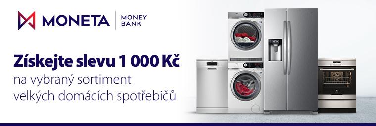 Získejte s Monetou slevu 1000 Kč na vybrané velké domácí spotřebiče